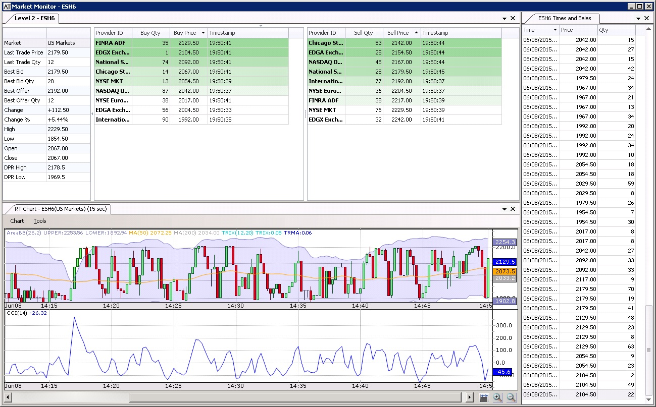 Trading Screen - Market Depth and Level 2 Views