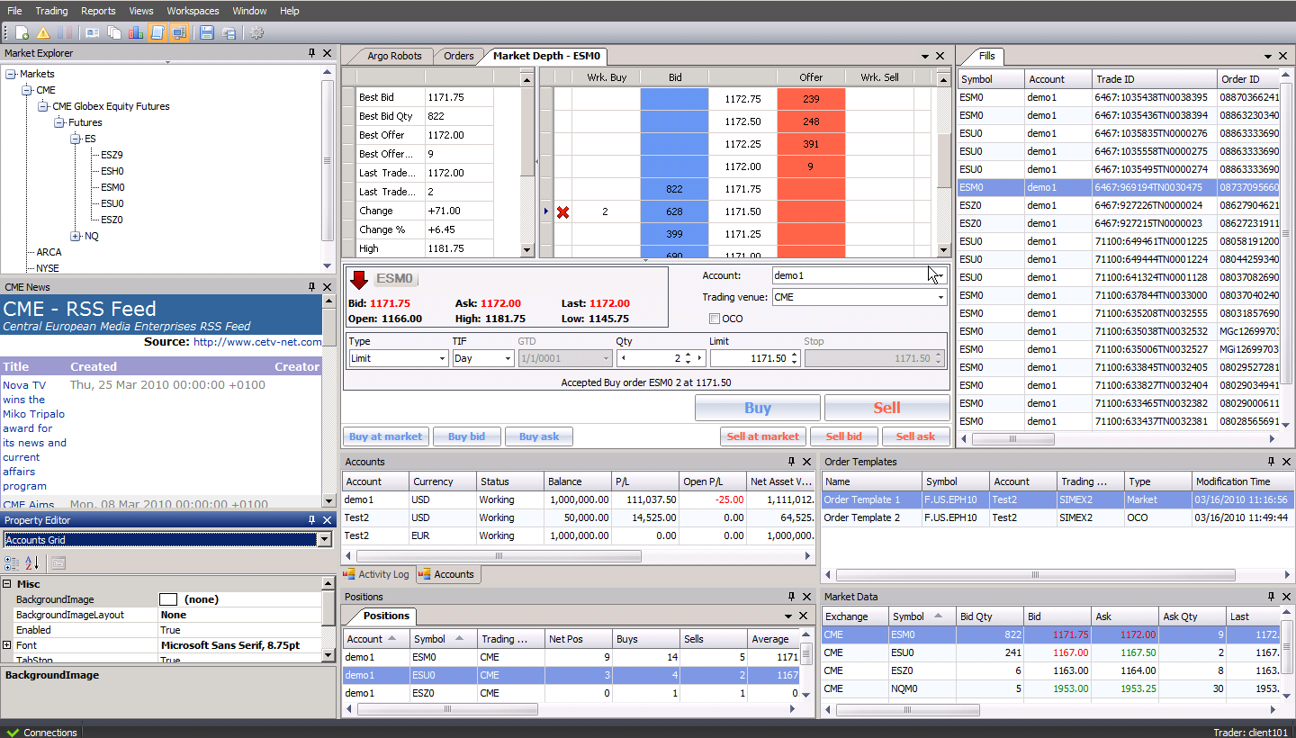 Trading screen order management system